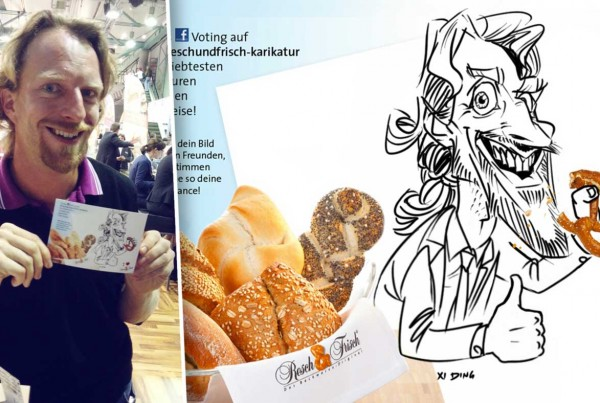 Schnellzeichner auf Messe, Digital Karikatur, Ausdruck vor Ort